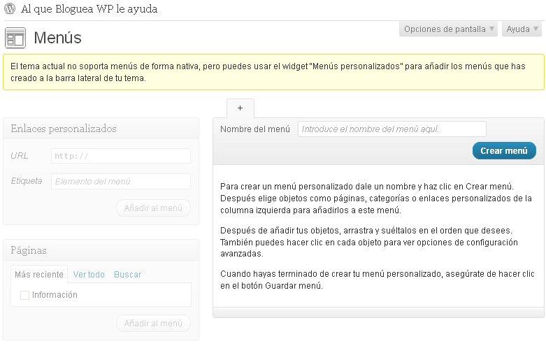 Añadir soporte para menús a un tema de WordPress – Blogueando que es ...