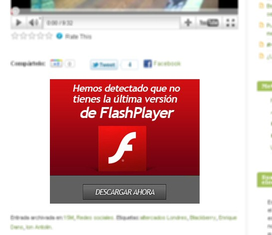 Botón de descargar Flash Player -sospechoso